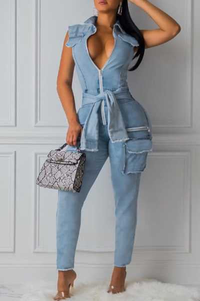 Wearvip Casual Sleeveless Knot Design Denim Jumpsuit