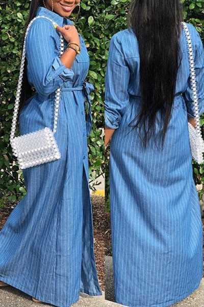Wearvip Casual Striped Print Denim Split Maxi Dress