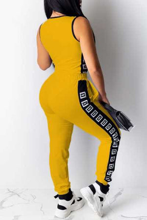 Wearvip Sporty Sleeveless Zip UP Pants Sets