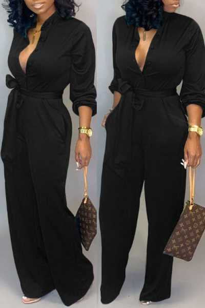 Wearvip Casual V-neck Long Sleeve Tie Design Jumpsuit