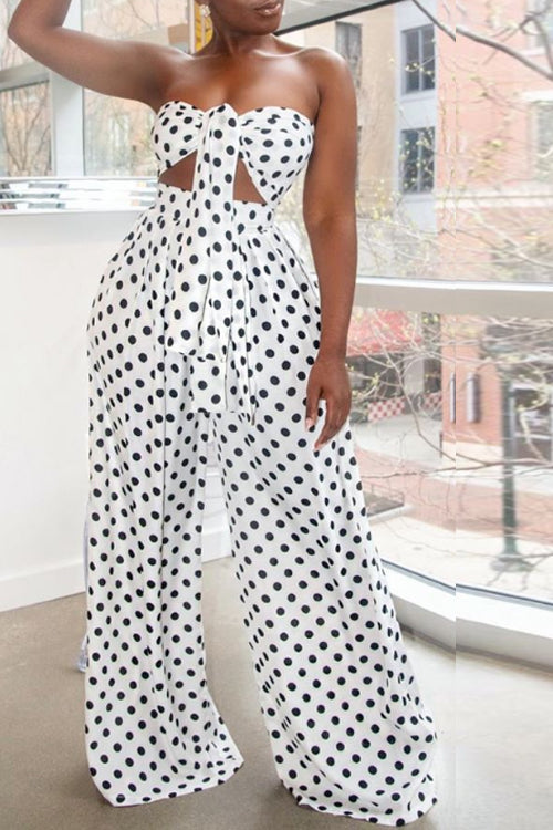 Wearvip Casual Strapless Polka Dot Print Wide Leg Jumpsuit