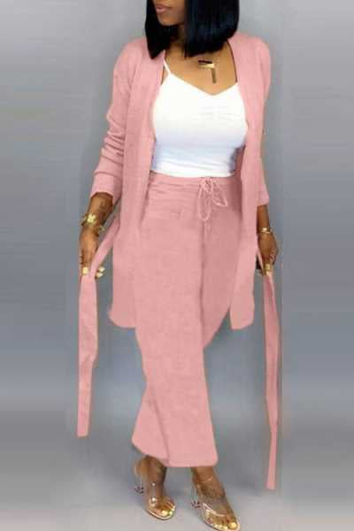 Wearvip Casual Solid Color Long Sleeve Pants Sets (With Belt)