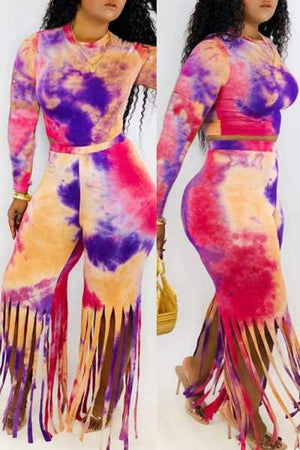Wearvip Casual Tassel Trim Tie Dye Print Pants Sets