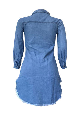 Wearvip Casual Long Sleeve Broken Holes Denim Midi Dress