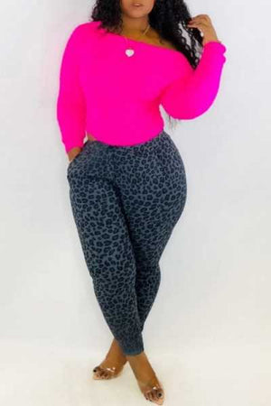 Wearvip Casual Long Sleeve Leopard Print Pants Sets