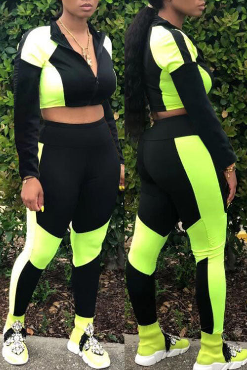 Wearvip Sporty Long Sleeve Color Patchwork Zip Up Pants Sets