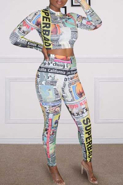 Wearvip Casual Long Sleeve Cute Letters Print Pants Sets