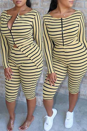 Wearvip Casual Long Sleeve Striped Print Zip Up Shorts Sets