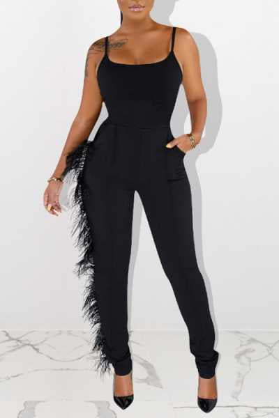 Wearvip Casual Feather Trim Back Zip Up Jumpsuit
