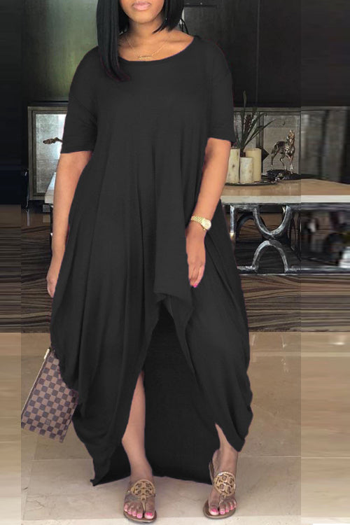 Wearvip Casual O-neck Irregular Maxi Dress