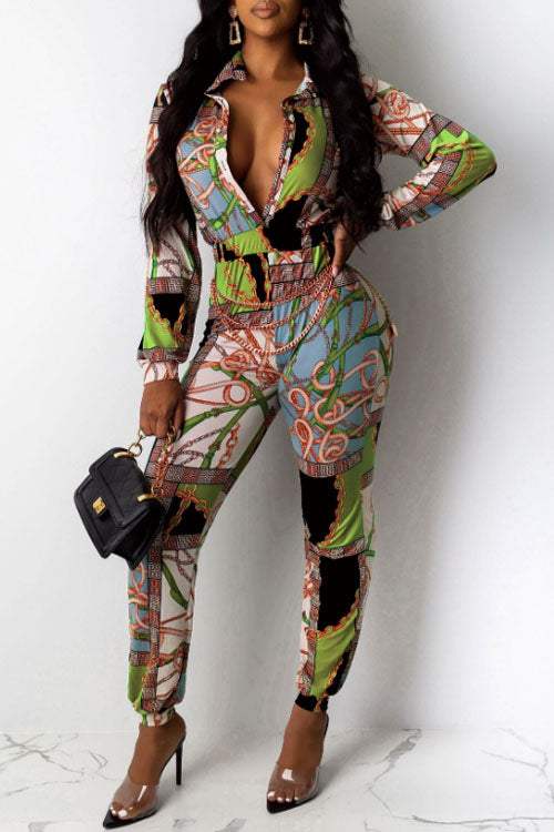 Wearvip Casual Long Sleeve Vintage Print Jumpsuit (No Chain)