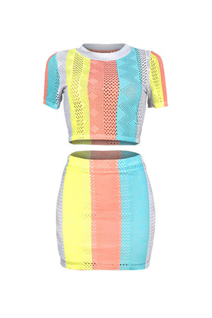 Wearvip Sporty Geometric Mesh See-through Hollow Skirt Sets