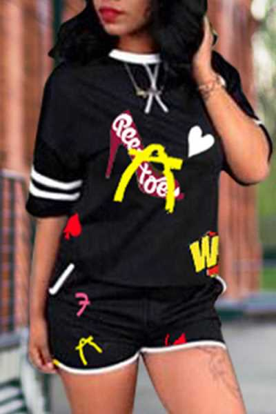 Wearvip Casual O-neck Graffiti Letters Print Shorts Sets