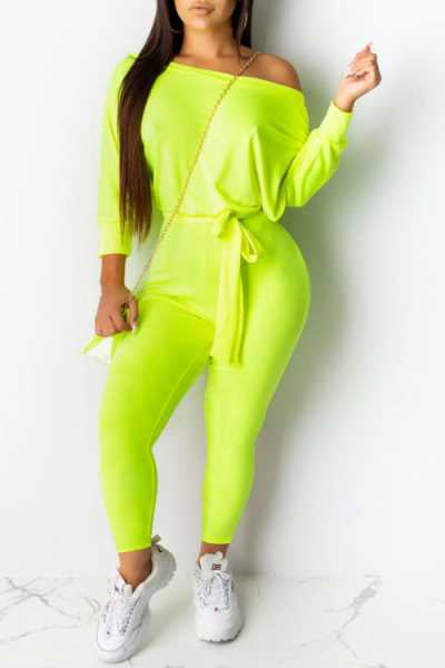 Wearvip Sporty Solid Color Long Sleeve Jumpsuit(With Belt)