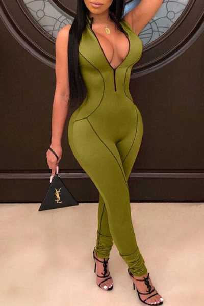 Wearvip Sporty Bodycon Sleeveless Zip Up Jumpsuit