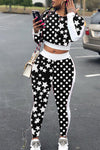 Wearvip Casual Polka Dot Print Pant Sets