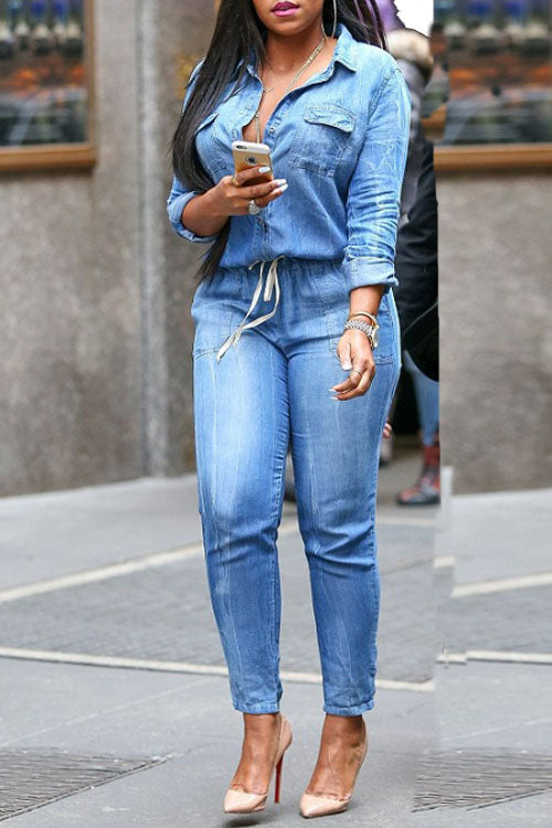 Wearvip Casual Button Up Denim Jumpsuit
