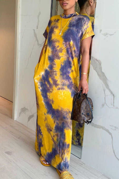 Wearvip Casual Tie Dye Print Maxi Dress(With Pockets)