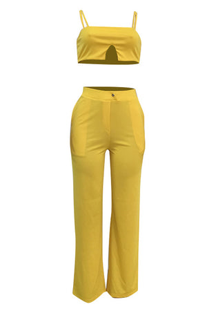 Wearvip Casual Spaghetti Strap Wide Leg Pant Sets
