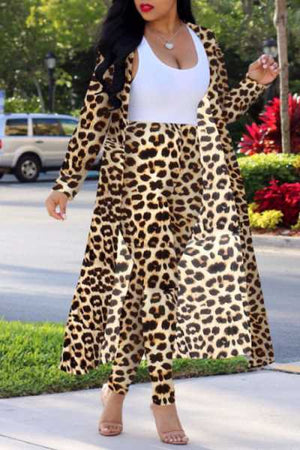 Wearvip Casual Long Sleeve Leopard Print Pants Sets(Without Tank Top)