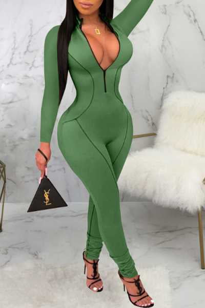Wearvip Sporty Long Sleeve Zip Up Bodycon Jumpsuit