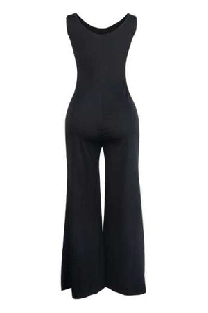 Wearvip Casual Sleeveless Solid Color Wide Leg Jumpsuit (With Pocket)