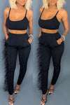 Wearvip Casual Feather Trim Pants Sets