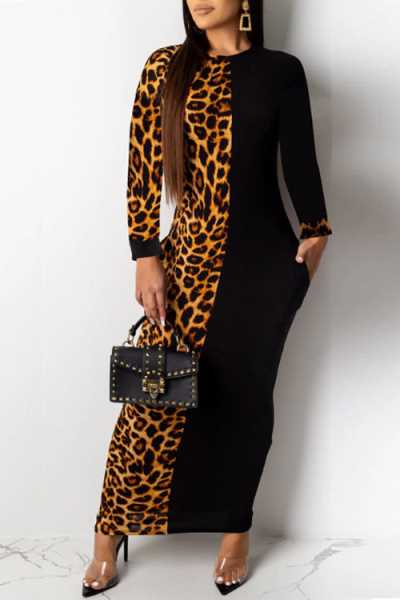 Wearvip OL O-neck Animal Print Patchwork Maxi Dress