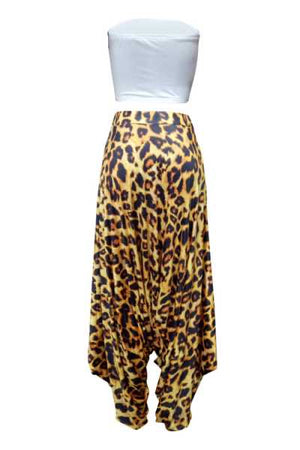Wearvip Casual Strapless Leopard Print Pants Sets