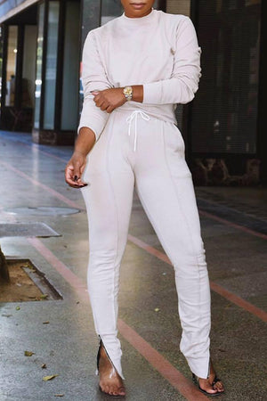 Wearvip Casual Solid Color Pant Sets