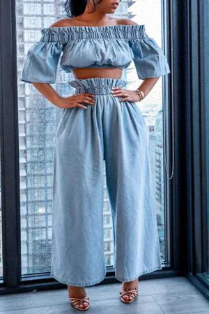 Wearvip Casual Flounce Trim Wide Leg Denim Pants Sets