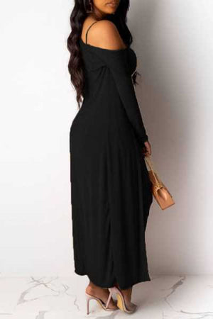 Wearvip Casual Solid Color Velvet Midi Dress (With Outwear)