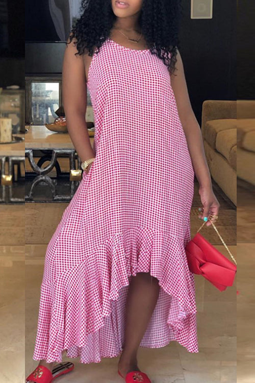 Wearvip Casual Spaghetti Strap Polka Dot Print Ruffled Midi Dress