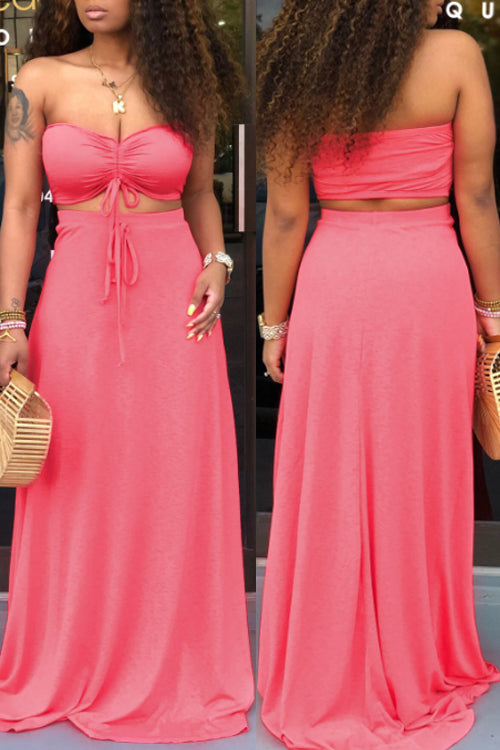 Wearvip Bohemian Strapless Backless Skirt Sets