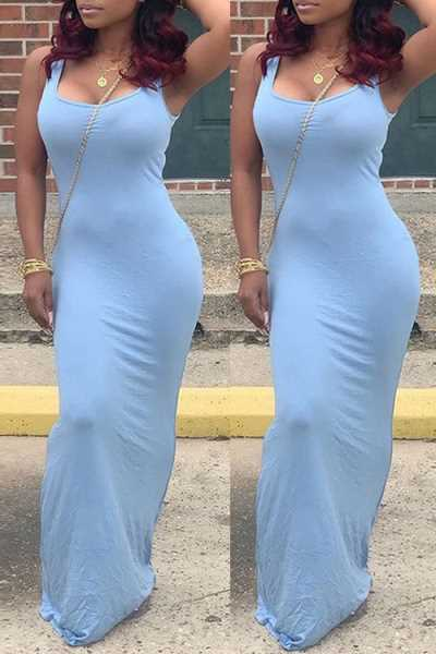 Wearvip Casual U-neck Solid Color Sleeveless Maxi Dress