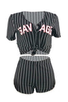 Wearvip Casual V-neck Letter Striped Print Shorts Sets