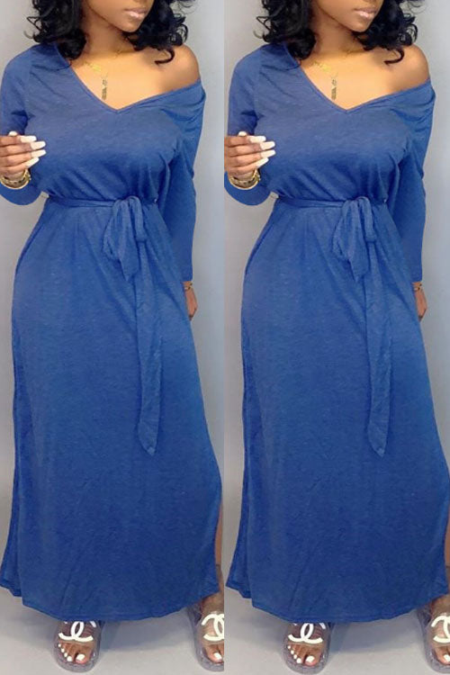 Wearvip Casual Loose Long Sleeve Solid Color Maxi Dress (With Belt)