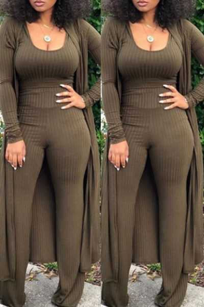 Wearvip Casual Long Sleeve Solid Color Pants Sets