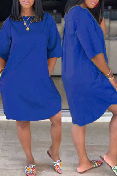 Wearvip Casual Loose Solid Color Midi Dress (With Pocket)