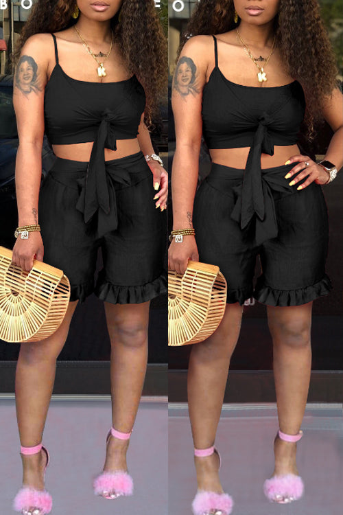 Wearvip Casual Flounce Trim Tie Shorts Sets