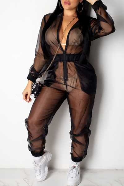 Wearvip Casual Frock Style See-through Jumpsuit (With Hooded)