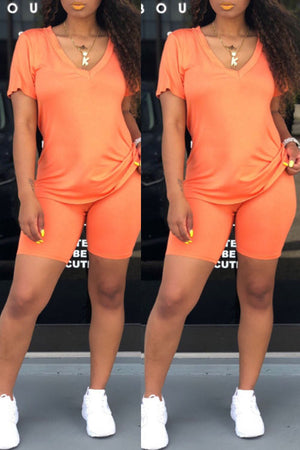 Wearvip Casual Solid Color Short Sleeve Shorts Sets