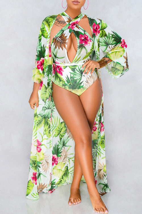 Wearvip Floral Print Light Green One-piece (With Outwear)