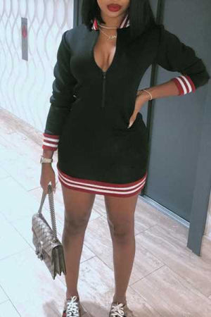 Wearvip Sporty Long Sleeve Solid Color Zip Up Mini Dress