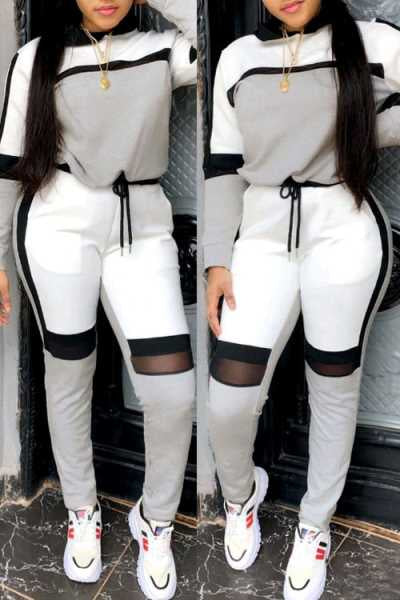 Wearvip Sporty Patchwork Hooded Pants Sets