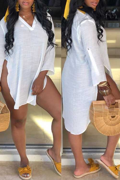 Wearvip Casual V-neck Split White Mini Dress