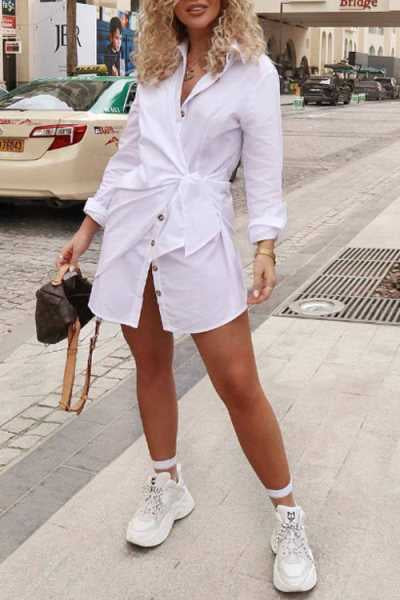 Wearvip Casual Tie Design Mini Shirt Dress
