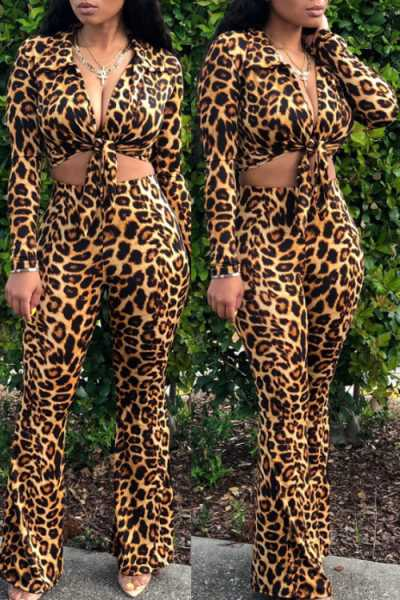 Wearvip Casual Long Sleeve Leopard Print Tie Design Pants Sets