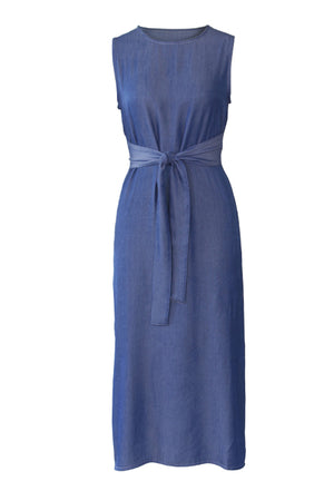 Wearvip Casual Sleeveless Split Denim Dress