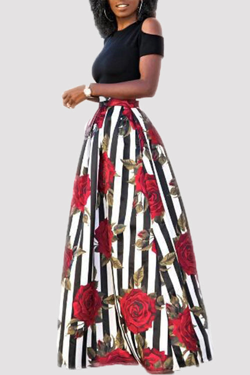 Wearvip Casual Floral Print Skirt Sets (With Pocket)